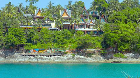 Luxury Resort Tucked Away Behind Treeline in Thailand Footage