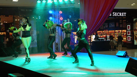 PHUKET. THAILAND - CIRCA FEB 2015: Singing and dance stage performance at Centra Footage