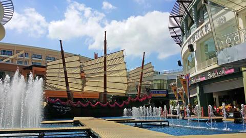 PATONG. PHUKET. THAILAND - CIRCA JAN 2015: Water spouting into the air at the fo Live Action