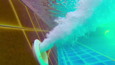 Air Pump Blasting Bubbles in Swimming Pool Live Action