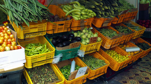 Display of Fresh Vegetables in an Asian Marketplace Footage