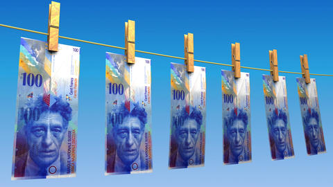 Drying Swiss Francs (Loop) Animation
