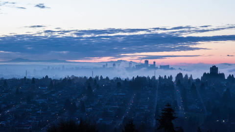 Wide shot of fog covering downtown Vancouver Footage