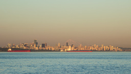 Vancouver downtown at sunset time with moonrise Footage