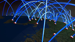 Business Flight Network Connections over Europe Flyover with Mattes 1 Animation