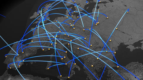 Business Flight Network Connections over Europe Top View with Mattes 2 Animation