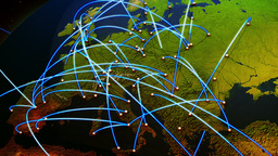 Business Flight Network Connections over Europe Top View with Mattes 3 Animation