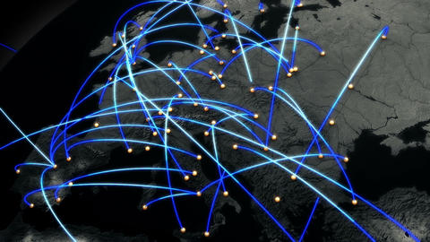 Business Flight Network Connections over Europe Top View with Mattes 4 Animation