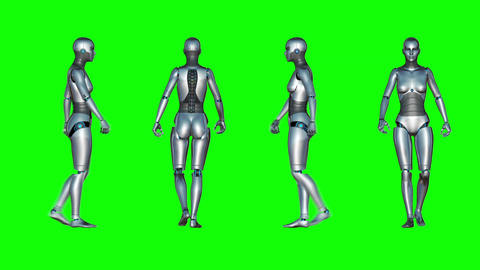 Female Robot Walk Loop (Green Screen) stock footage