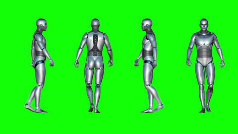 Male Robot Walk Loop (Green Screen) Animation