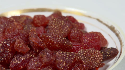 Candied Strawberries on a Plate Footage