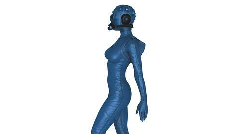 ガスマスクを着けた女性 Animation
