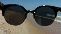 Empty Beach and Sunglasses Footage