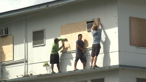 Preparing For Hurricane Boarding Up Windows Footage