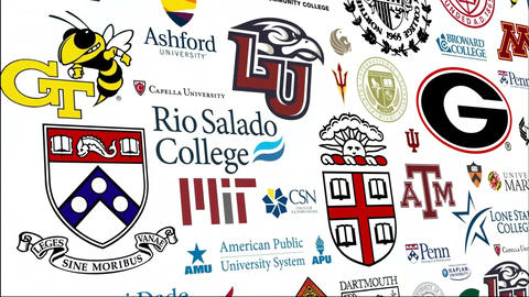 *REVERSE* College Logo Loop stock footage