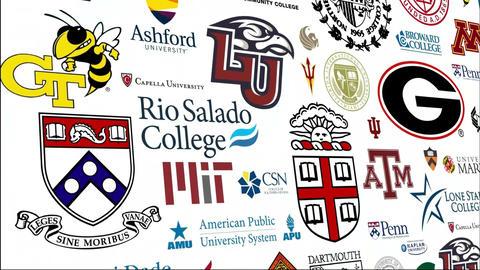*REVERSE* College Logo Loop stock footage