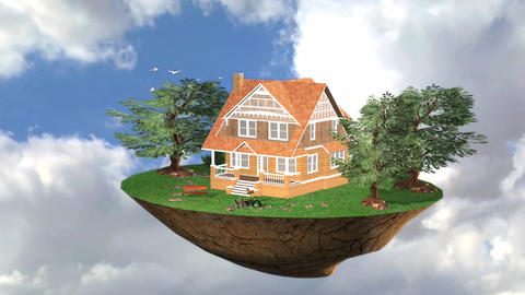 Flying island Live Trees Environment 3D Animation CG動画素材