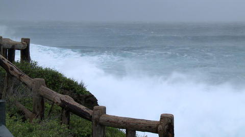Huge Storm Waves Crash Onto Rocky Coastline Footage