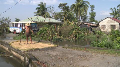 Man Dries Rice In Rural Village stock footage