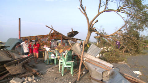 Typhoon Aftermath Building Destroyed By Wind Footage