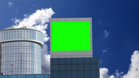 Advertising on the building, green screen Live Action