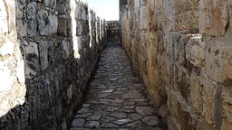 Walk along inside of the Jerusalem old city walls Footage