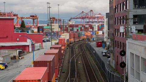 Trains moving containers Footage