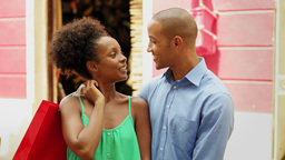 African American Couple Shopping With In Panama Casco Antiguo Footage