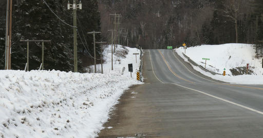 View of empty highway 60 in Algonquin Provincial Park Footage