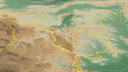 Ningxia Hui - China autonomous region extruded. Bumps shaded Animation