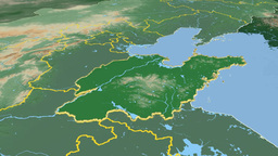 Shandong - China province extruded. Bumps shaded Animation