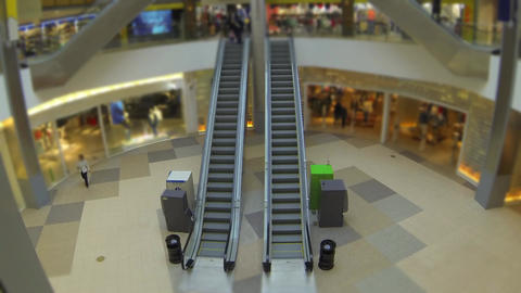 escalator in shopping mall time lapse Footage