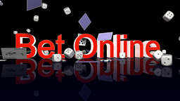 BetOnline text with casino chips dice and cardsfal Animation