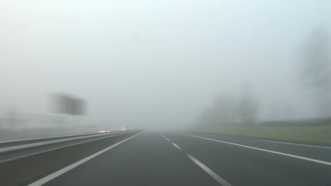 Highway fog 02 Stock Video Footage