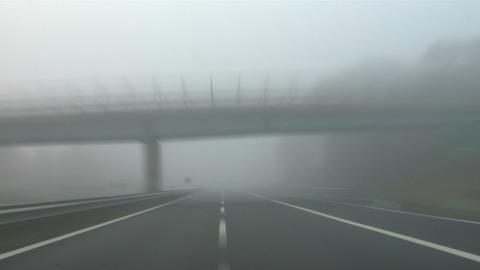 Highway fog 02 Stock Video Footage