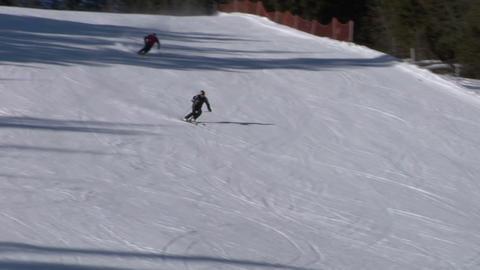 skier slow 04 Stock Video Footage