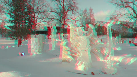 Stereoscopic 3D of ice art competition in Helsinki 03v01 combo Footage