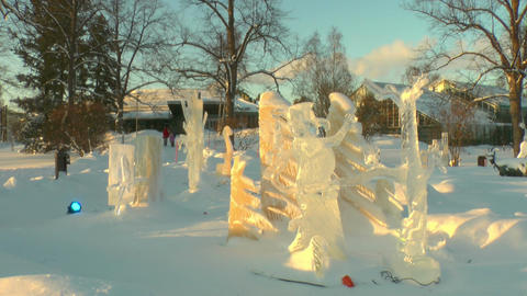 Stereoscopic 3D of ice art competition in Helsinki 03v01... Stock Video Footage