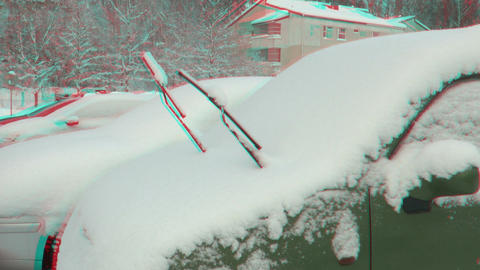 Stereoscopic 3D of cleaning car window after snow storm 1... Stock Video Footage