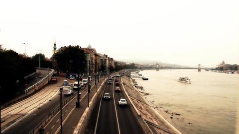 Buda Wharf View Budapest Hungary 04 stylized artsoft... Stock Video Footage