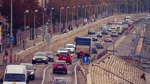 Buda Wharf View Budapest Hungary 07 stylized retro filmlook Stock Video Footage