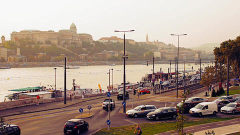 Budapest View with the Castle Of Buda Hungary 06 stylized... Stock Video Footage