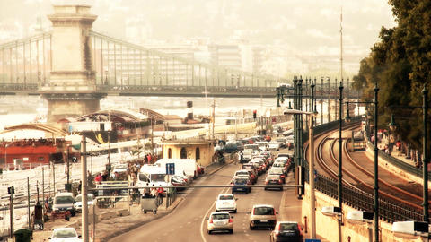 Budapest View with the Chain Bridge Hungary 05 stylized... Stock Video Footage