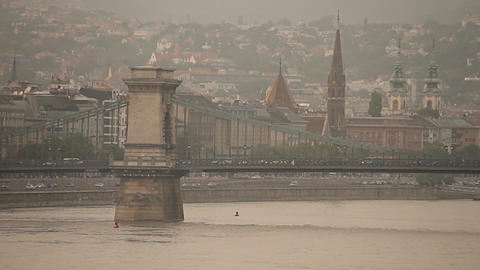 Chain Bridge in Budapest Hungary neutral Stock Video Footage