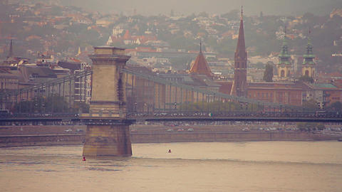Chain Bridge in Budapest Hungary stylized retro filmlook Stock Video Footage