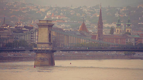 Chain Bridge in Budapest Hungary stylized retro filmlook Footage