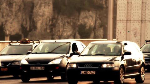 Elizabeth Bridge Traffic Budapest Hungary stylized... Stock Video Footage