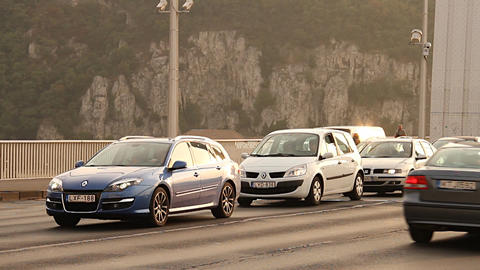 Elizabeth Bridge Traffic in Budapest Hungary 02 ne Stock Video Footage