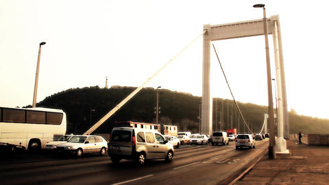 Elizabeth Bridge Traffic in Budapest Hungary 06 stylized... Stock Video Footage