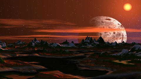 Rising of the big moon on a fantastic planet Stock Video Footage